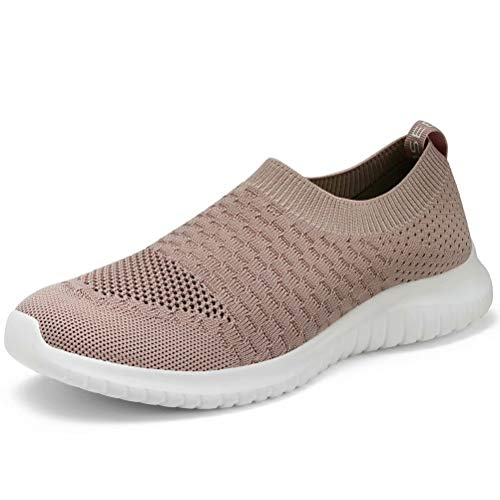 (konhill Women's Walking Tennis Shoes - Lightweight Athletic Casual Gym Slip on Sneakers 13 US Apricot,45)