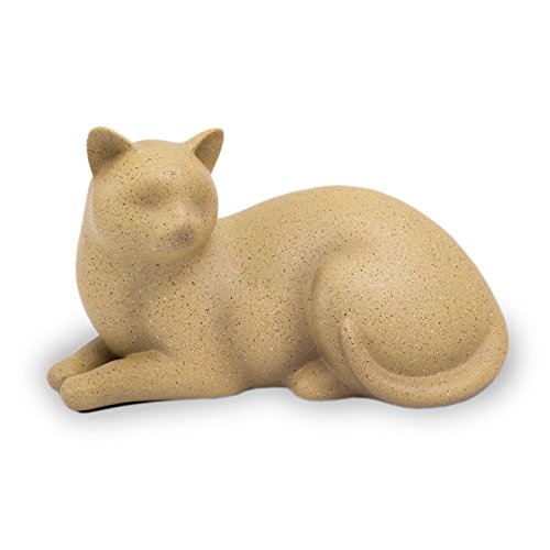 (OneWorld Memorials Cozy Cat Polyresin Cremation Cat Urn - Extra Small - Holds Up to 25 Cubic Inches of Ashes - Fawn Brown Pet Cremation Urn for Ashes - Engraving Sold Separately)