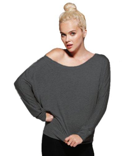 Ladies' Flowy Off Shoulder Long Sleeve Shirt, Dark Grey Heather, XL