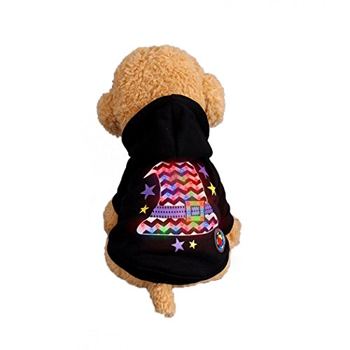 Abcsea Pet Costume, Pet Clothes, Dog Clothes, Pet Glow Clothes, Glow in The Dark, Pet Dog Halloween Glow Costume, Shaman Hat Style - Black - L