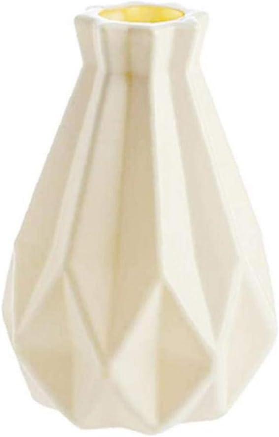 la Botella de pl/ástico de Origami florero Blanco Decoraci/ón del hogar n/órdicos Tiesto imitaci/ón de cer/ámica de la Maceta