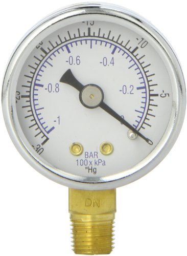 PIC Gauge 101D-158A 1.5' Dial, 30'/0 hg Vacuum psi Range, 1/8' Male NPT Connection Size, Bottom Mount Dry Pressure Gauge with a Black Steel Case, Brass Internals, Chrome Bezel, and Plastic Lens