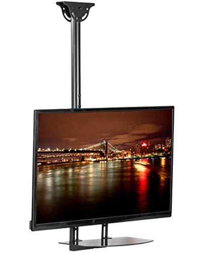 VIVO Full Motion TV Ceiling Mount for 32 to 55 inch Flat Screens, Glass Storage Shelf, VESA Back of TV Shelving Bracket, TV Mount and Shelf Combo (Mount-KIT-VCSF4)
