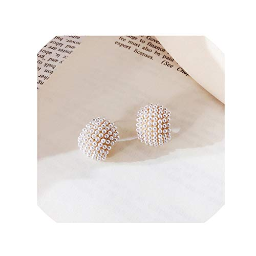 (2019 Vintage Japan Korean Style Elegant Circle Stud Earrings Half Arc Full Simulated Pearl Beads Jewelry Girl Gifts,F)