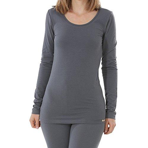 comazo Damen Shirt Langarm Bio-Baumwolle/Elasthan Anthrazit 36