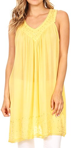 (Sakkas 16521 - Rita Womens Picot Trim V Neck Tank Blouse with Seqins and Embroidery - Butter Yellow -)