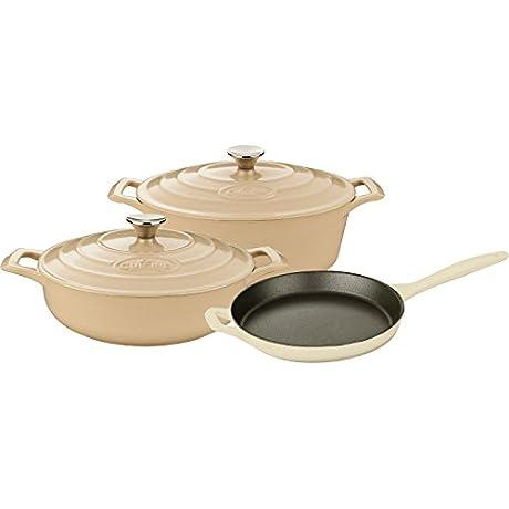 La Cuisine LC 2785 5 Piece Enameled Cast Iron Oval Casserole Cookware Set Cream