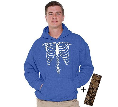 [Halloween Hoodie Front Ribcage Skeleton Costume Scary Sweatshirt + Bookmark XL Blue] (Boys Skeleton Sweatshirt Hoodie Costumes)
