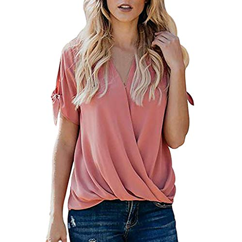FORUU 2019 Surprise Best Gift for Girlfriend Lover Wife Party Under 5 Women's Casual Short Sleeve Hollowing Out V-Neck Solid Blouse Tops with Bow Charmeuse Short Sleeve Blouse