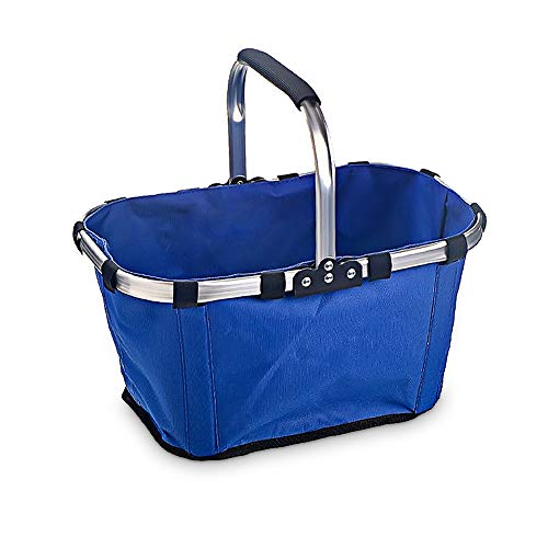 Market Basket, Sarissa Collapsible&Reusable Fabric Picnic Tote Lightweight Basket for Shopping Picnic With Storage Metal Handle Blue ()