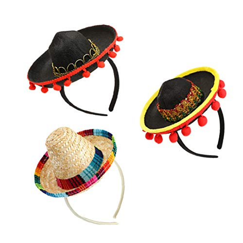 3 Packs Cinco de Mayo Fiesta Fabric and Straw Sombrero Headbands Set- Mexican Fiesta Party Hat Decorations- One Size Fits All -