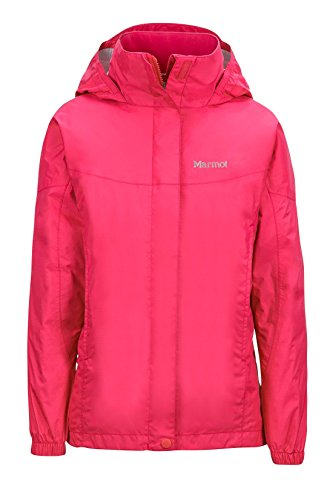 Marmot PreCip Girls' Lightweight Waterproof Rain Jacket, Pink Rock, -