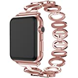 NewKelly Crystal Bracelet Stainless Steel Wrist Watch Strap For Apple Watch 1/2 42mm Loop Watch Band For Apple Watch 1/2 42mm Replacement Band for Apple Watch 1/2 42mm (Rose Gold)