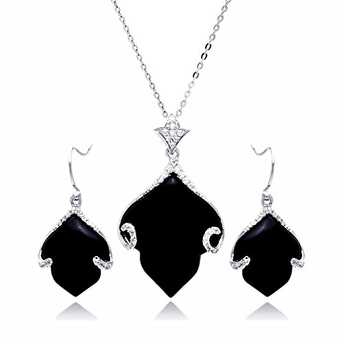 Sterling Silver CZ Black Simulated Onyx Leaf Hook Earring & Necklace Set 16'' + 2'' Ext. by Prime Pristine