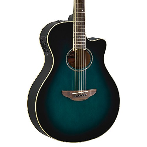 (Yamaha APX600 OBB Thin Body Acoustic-Electric Guitar, Oriental Blue Burst)