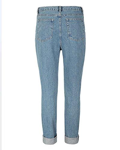 Taille Denim Bleu Haute Pantalon Casual Rtro Femmes Jeans SaiDeng Lache TxgwqUS