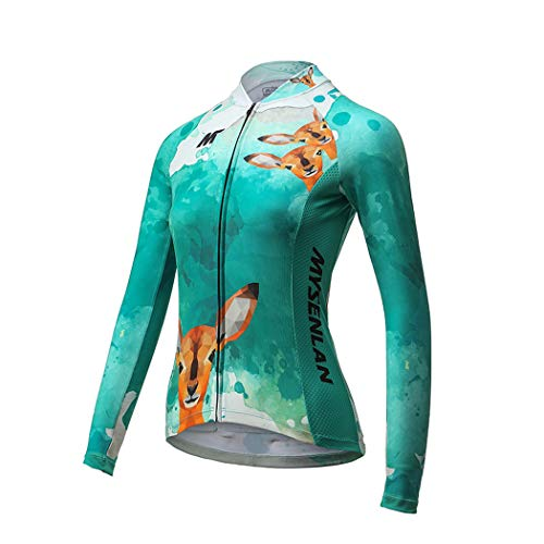 Mysenlan Women's Cycling Jersey Workout Bike Running Shirt Bicycle Training Clothing Long Sleeve Breathable Sports Tops