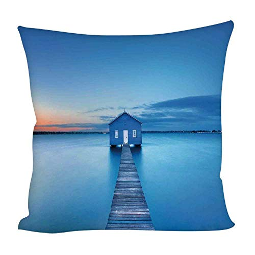 - YOLIYANA Lake House Decor Square Throw Pillow Cover,Sunrise Over Water Lakehouse Cabin Boardwalk Sunlight Clouds Horizon Nature for Home Outdoor Couch Sofa,15.7