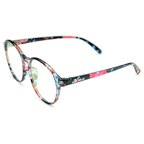 a88dc0918ed PenSee Oversized Circle Eyeglasses Frame Inspired Horned Rim Clear Lens  Glasses (Blue Flower(Creative))
