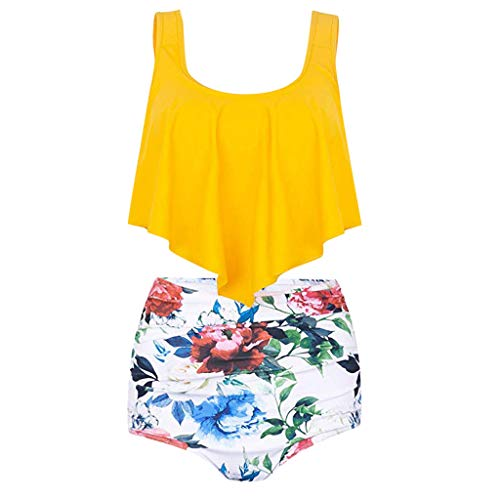 Pengy Women's Bikini Set Swimsuit High Waist Floral Print Bathing Suit Crop Flounce Two Piece Flowy Swimsuits Yellow