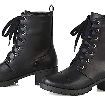 ESSEX GLAM Womens Low Heel Platform Ankle Boots Ladies Cleated Sole Combat Lace Up Shoes Size 3-8 5