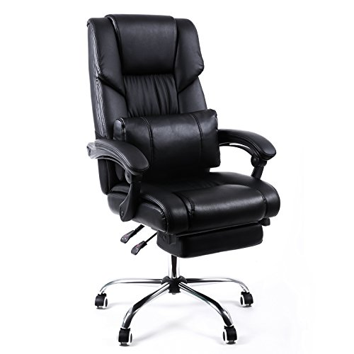 SONGMICS Extra Large Office Chair High Back Executive Swivel Chair with Large Seat and Pull-out Footrest PU Leather Black (Dorm Desk Chairs)