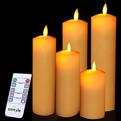 smtyle Flameless Candles Battery Operated with Moving Flame Wick Flickering LED Pillar Candle,Ivory Tip Top 5