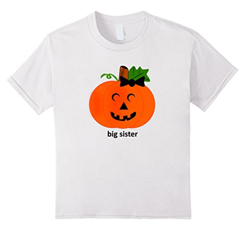 [Kids Cute Big Sister Pumpkin T-Shirt Halloween Costume Tshirt 8 White] (Big Sister Little Sister Costumes)