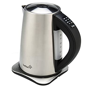 Ivation Precision-Temperature Electric Hot Water Tea Kettle Pot 1.7 Liter (7-Cup), 1500 Watt, Stainless Steel Cordless, 6 Preset Variable Heat Settings