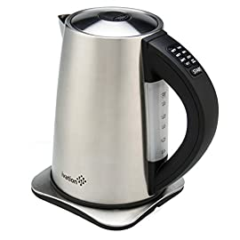 "Ivation Precision-Temperature Electric Hot Water Tea Kettle Pot 1.7 Liter (7-Cup), 1500 Watt, Stainless Steel Cordless, 6 Preset Variable Heat Settings for Tea, Coffee or Baby Formula 5 The Ivation K17S Best Rated Teapot Kettle, Features Built-In Temperature Controls, Enabling You to Steep and Brew Your Selection of Fine Teas & Coffees at Just the Right Temp, Allowing the Tea Leaves and Coffee Beans to Release its Unique Flavors, Aromas, Textures and Colors, Serving You The Most Incredibly Rich Taste Possible, Robust, Smooth with an Harmonious Embrace, No Dry Tongue, No Bitter or Burnt Taste. Equipped With 6 PRESET TEMP SETTING: Using The Simple One-Touch Controls On The Kettle's Handle, Select 160°F For Delicate Teas, 175°F For Green Tea, 185°F For White Tea, 190°F For Oolong Tea, 200°F For French Press Coffee, And ""Boil"" 212°F For Black Tea Or Instant Cocoa, Oatmeal, Noodles, And More. Built With High Wattage Capacity Of 1500w For Super-Fast Heating That Will Bring 1.7 Liters of Water to a Rolling Boil In Just Minutes, Much Faster Than Stovetop and Low Wattage Kettles; High Energy Efficient To Save You On Your Bills; Features Clear Water Level Window; Heat-Resistant Handle; and No-Drip Spout."