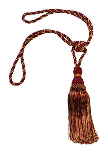 Elegant Wine (deep red), Gold Curtain & Drapery Tassel Tieback / 8 Inch tassel, 30 Inch Spread (embrace) Style# TBH8 – Carmine Gold 1253