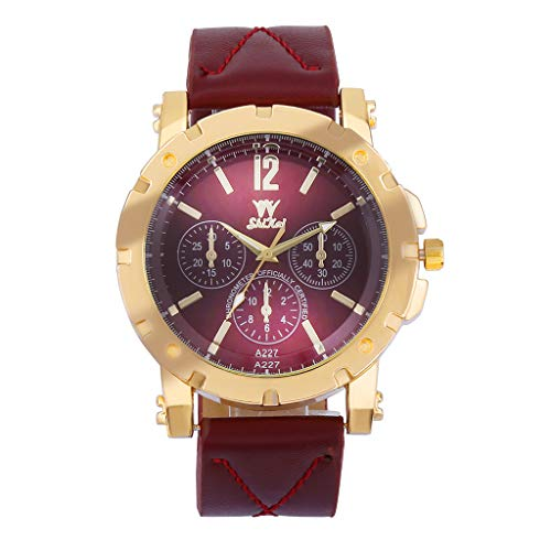 Fashion Luxury Casual Business Stainless Steel Dial Leather Strap Analog Quartz Waterproof Watches for Men (Red)
