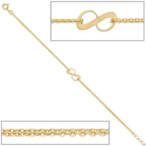 Bracelet femmes 375 or jaune 9 ct longueur 19 cm peuvent être raccourcies à 17 cm largeur 0,73 cm