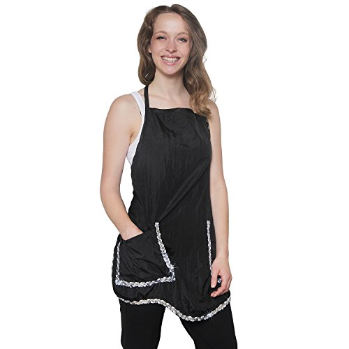 Curved Bling Fashionable Quality Apron Thigh Length with Flaps on Pockets Crinkle Nylon Material Light Weight Extra Durability Protection (Mane Bling)