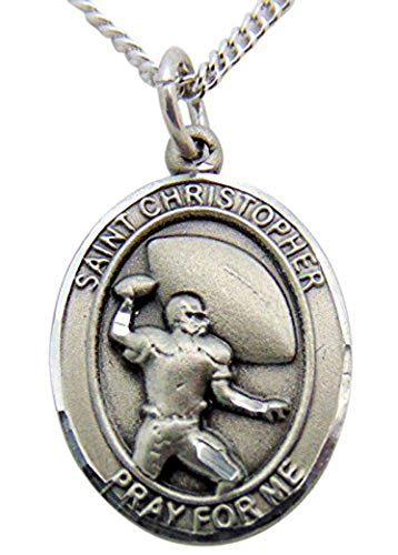(JWG Industries St Christopher Pewter Saint Medal Boys Football Player Boxed USA Made, 3/4 Inch)