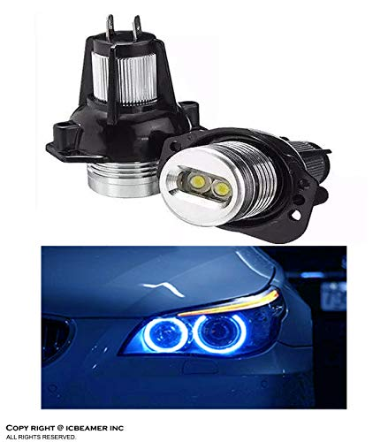 ICBEAMER Fit BMW Angel Eye E90 E91 Headlight Halo Ring Canbus No Error LED Bulbs 10000K Blue Color [1 Pair]