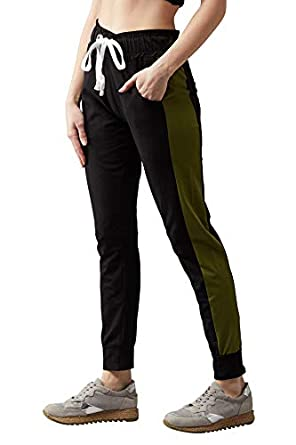 BLINKIN Women's RelaxFit Stretchable Trackpants | Joggers with Contrast Side Stripes