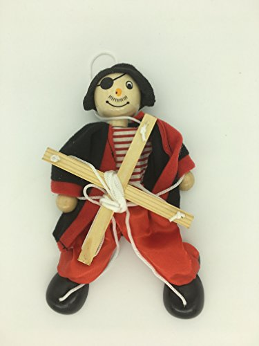 Sparik Enjoy 1 Packs Clown Pirate Hand Marionette Puppet Children's Wooden Marionette Toys Colorful Marionette Puppet Doll Parent-Child Interactive Toys-Red Pirate