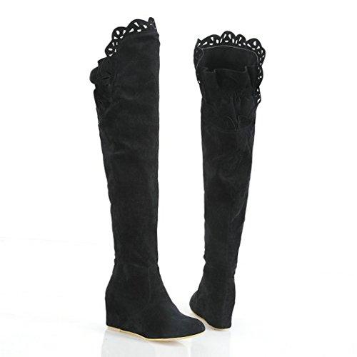 Talons Plateau Compensés Boots Motif Escarpins À Overknee Permettent Fourrure Fausse Partyschuhe Pour Et Trous Lath Herbsschuhe Femme Noir pin xgYq6rYX