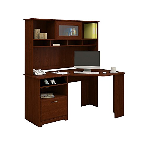 Cabot Corner Desk with Hutch in Harvest Cherry (Desk Corner Computer Cabot)