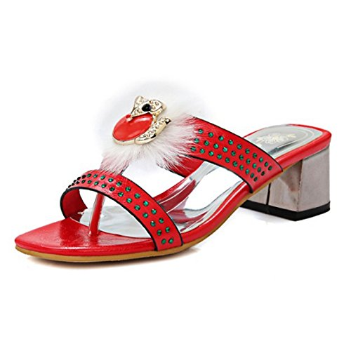 ZHZNVX Zapatos de mujer PU Primavera Verano comodidad novedad sandalias Slingback Chunky TALÓN TALÓN Abierto Rhinestone Pluma para Boda,noche Red
