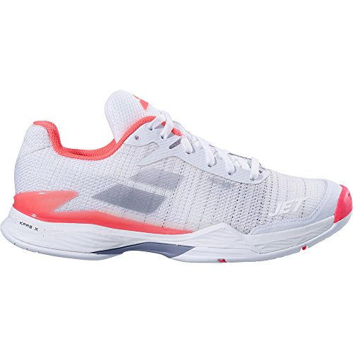 Babolat Women's Jet Mach II All Court Tennis Shoes, White/Fluo Pink (Size 8.5)]()