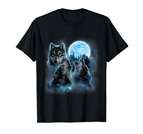 Three Wolf - T-Shirt Three Wolves Howling Under Icy Full Moon, Gray Wolf