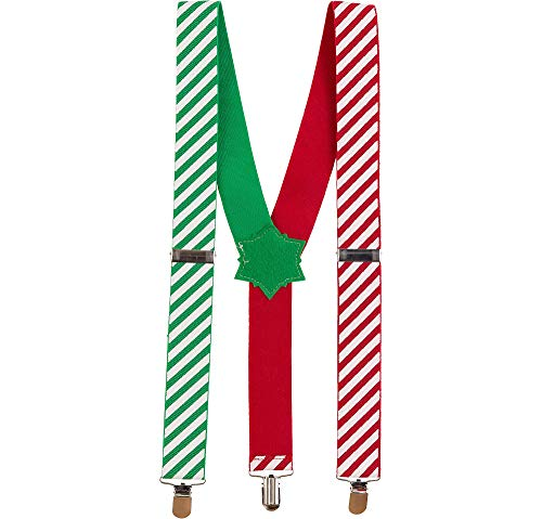 amscan Christmas Candy Cane Fabric Suspenders | Party