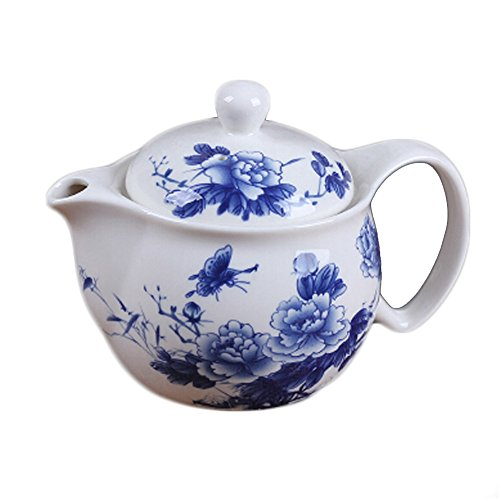 Peony Teapot With Tea Infuser Blue Stylish Ceramic Tea Kettl