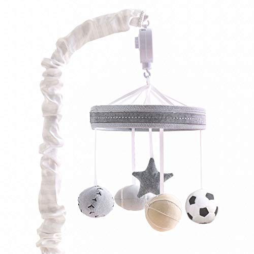 Grey Sports League Digital Musical Crib Mobile by The - Mobile Baby Football