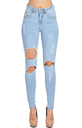 - Blue Age Womes Ripped Destroyed Blue Well Stretch Skinny Jeans (JP1037A_SN_5)