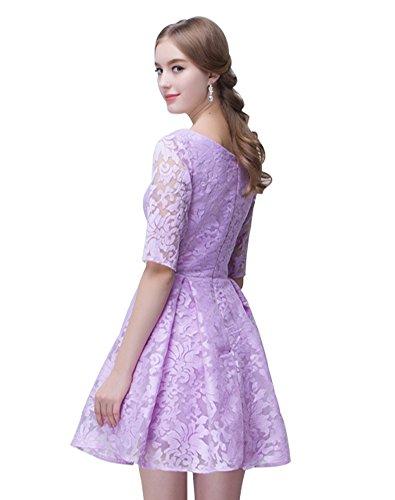 Juwel Erosebridal mit kurze Spitze Brautjungfer Lavendel A Kleid line Ärmeln FRSSqwZx1