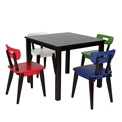 Max & Lily Espresso Wood Kid and Toddler Square Table +  Modern Chairs (Blue, Red, Green, White)