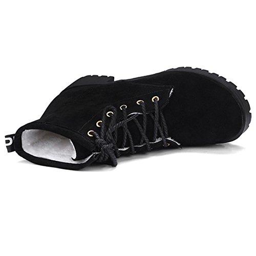 TAOFFEN Femmes Hiver Botines Lacets Black 8P8MF1KoQ